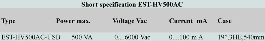Short specification EST HV500AC