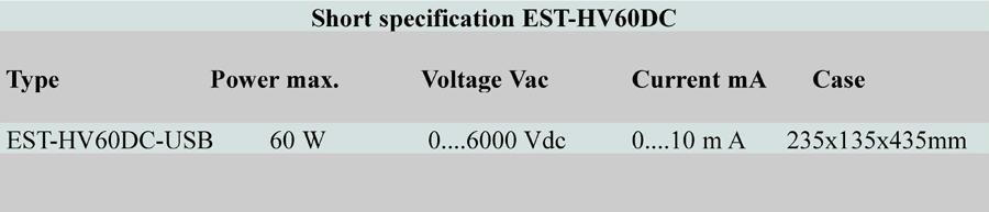Short specification EST HV60DC