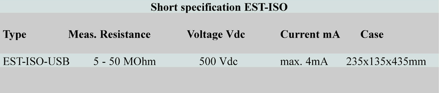 Short specification EST ISO