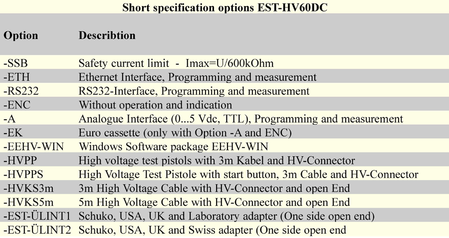 Short specification Options EST HV60DC