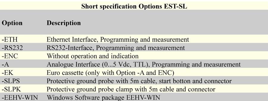 Short specification Options EST SL